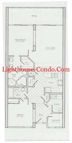 Lighthouse condo two bedroom floor plan
